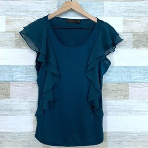 The Limited Ruffle Sleeve Blouse Green